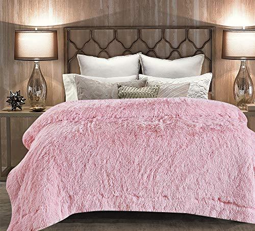 Chanasya Super Soft Shaggy Longfur Throw Blanket | Snuggly Fuzzy Faux Fur Lightweight Warm Elegant Cozy Plush Sherpa Fleece Microfiber Blanket | for Couch Bed Chair Photo Props - Queen - Pink