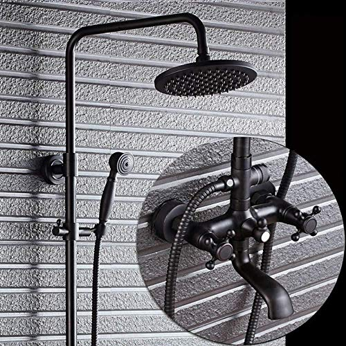 - UYKIKUI Thermostatic Bathroom Modern Chrome Bath Shower Mixer Anti Scald Tap Shower Hose Hand-Held Shower Head Top Spray Shower Chrome
