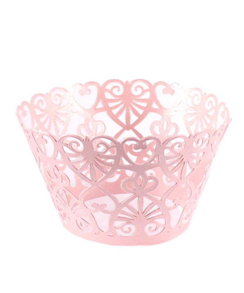 Lace Hearts Filigree Paper Cupcake Wrappers - Pastel Pink Shimmer Weddingstar Inc. 9251-05
