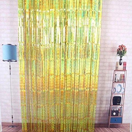 Set Bare Sheer (Yeefant 1Pcs Rain Curtain Christmas Birthday Tassel Decoration Door Fringe Garlands Foil Background Curtains,6.56x3.28 Ft,Gold)