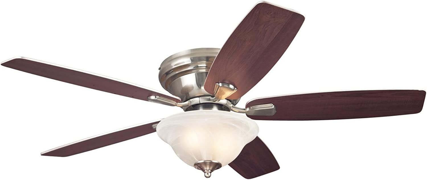 Westinghouse Lighting 7213200 Sumter 52-Inch Brushed Nickel Indoor Ceiling Fan, LED Light Kit with White Alabaster Bowl