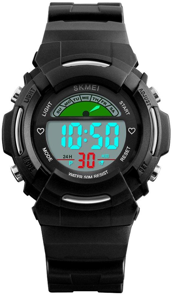 Kids Sports Colorfully Digital Waterproof Watch Outdoors Alarm LED Chronograph EL Luminous Quartz Watches (Black) by HUNRUY