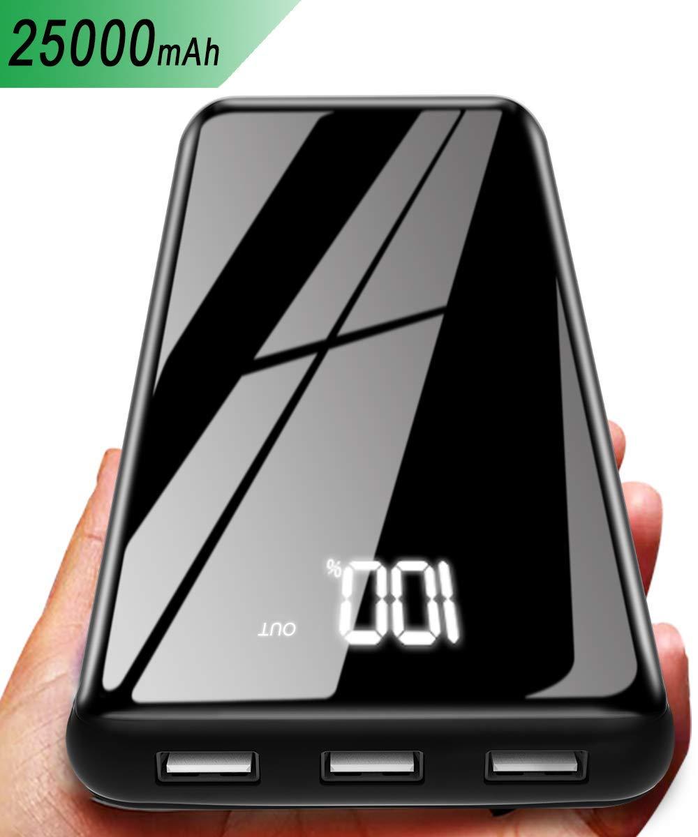 3 Porte USB e 2 Ingressi Gnceei Power Bank 25000mAh Caricabatterie Portatile Wireless con Display Digitale LCD Batteria Esterna Compatibile con Android//iOS Phones Tablet e Altri