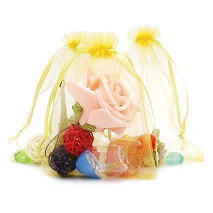 100 piezas, bolsas de organza extra grande 13 X 18 cm, bolsas de regalo de organza con cordón para joyas, bolsas de regalo, bolsas de dulces, amarillo