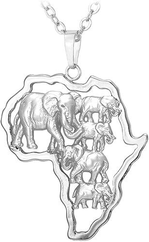 U7 Collar Del Mapa De África Con Ojo De Horus Estilo Exótico, Acero Inoxidable/Plata De Ley Plateado/Dorado/Negro/Rosado Con Cadena 55Cm Ajustable