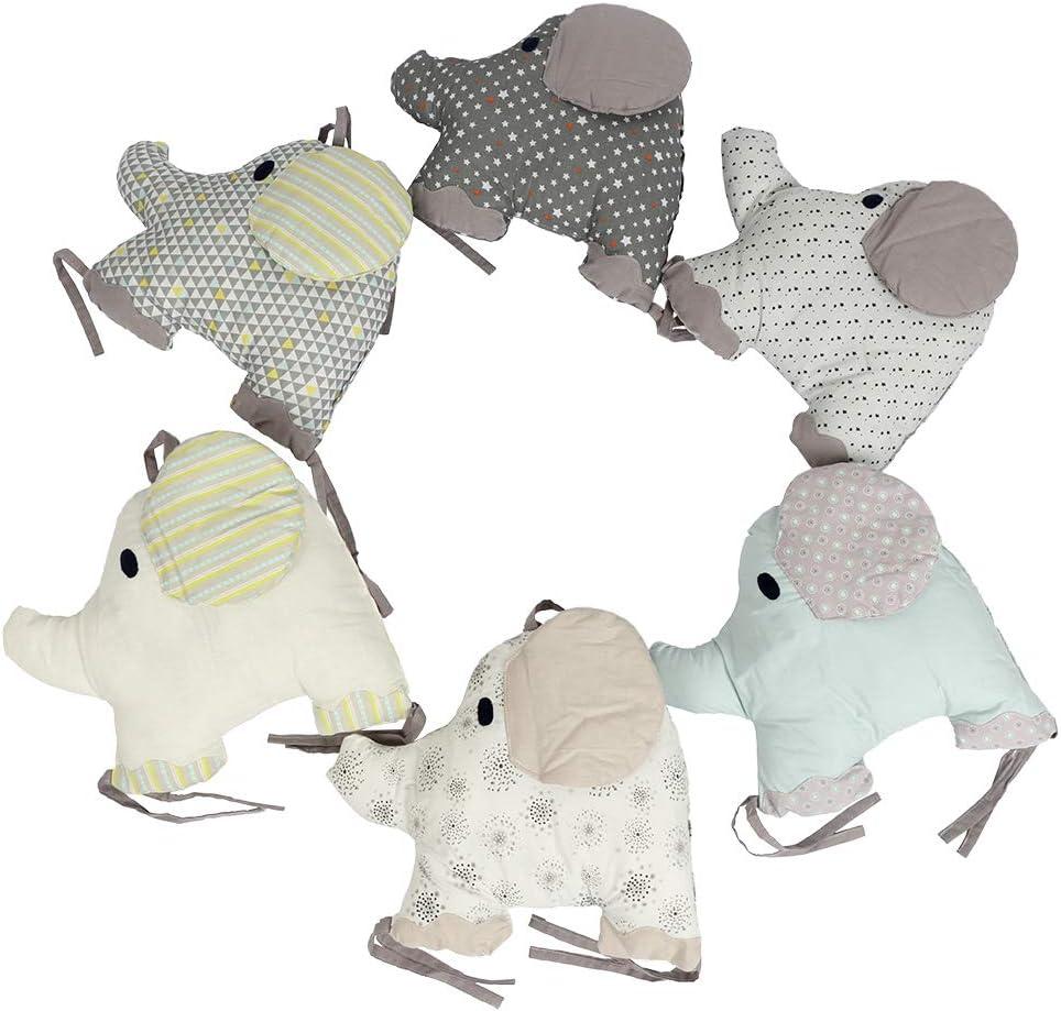 204cm x 27cm Moonvvin 6pcs Baby Cotton Head Guard Padded Bumper Adorable Elephant Shape Polka Dot Star Crib Bed Cushion Sleep Bumper for Toddlers