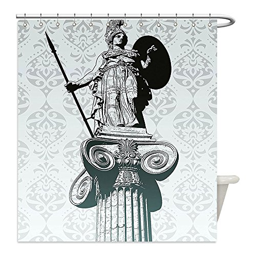Liguo88 Custom Waterproof Bathroom Shower Curtain Polyester Sculptures Decor Statue of Athena on Pillar Baroque Background Ancient Greek Mythology Hellenistic Monument Decor Black Decorative bathro - Greek Warrior Costume Pattern