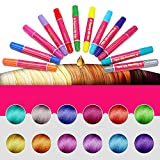 KOBWA Hair Chalk, 12 Pack Non-Toxic Temporary Portable and Easy to Remove Hair Coloring Chalk,Colourful Pens for All Hair Colors,Birthday Present Gifts For Girls Boys Age 3 Years Old