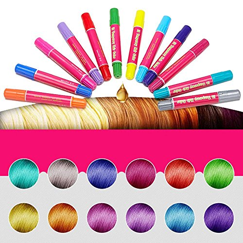 KOBWA Hair Chalk, 12 Pack Non-Toxic Temporary Portable and Easy to Remove Hair Coloring Chalk,Colourful Pens for All Hair Colors,Birthday Present Gifts For Girls Boys Age 3 Years Old by KOBWA