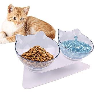 Hihey Alimentador Tazón Cat Tazón de Fuente de plástico Antideslizante Tazón de alimentación Alimento para Gatos Alimentador de Agua Mascotas Alimentación ...