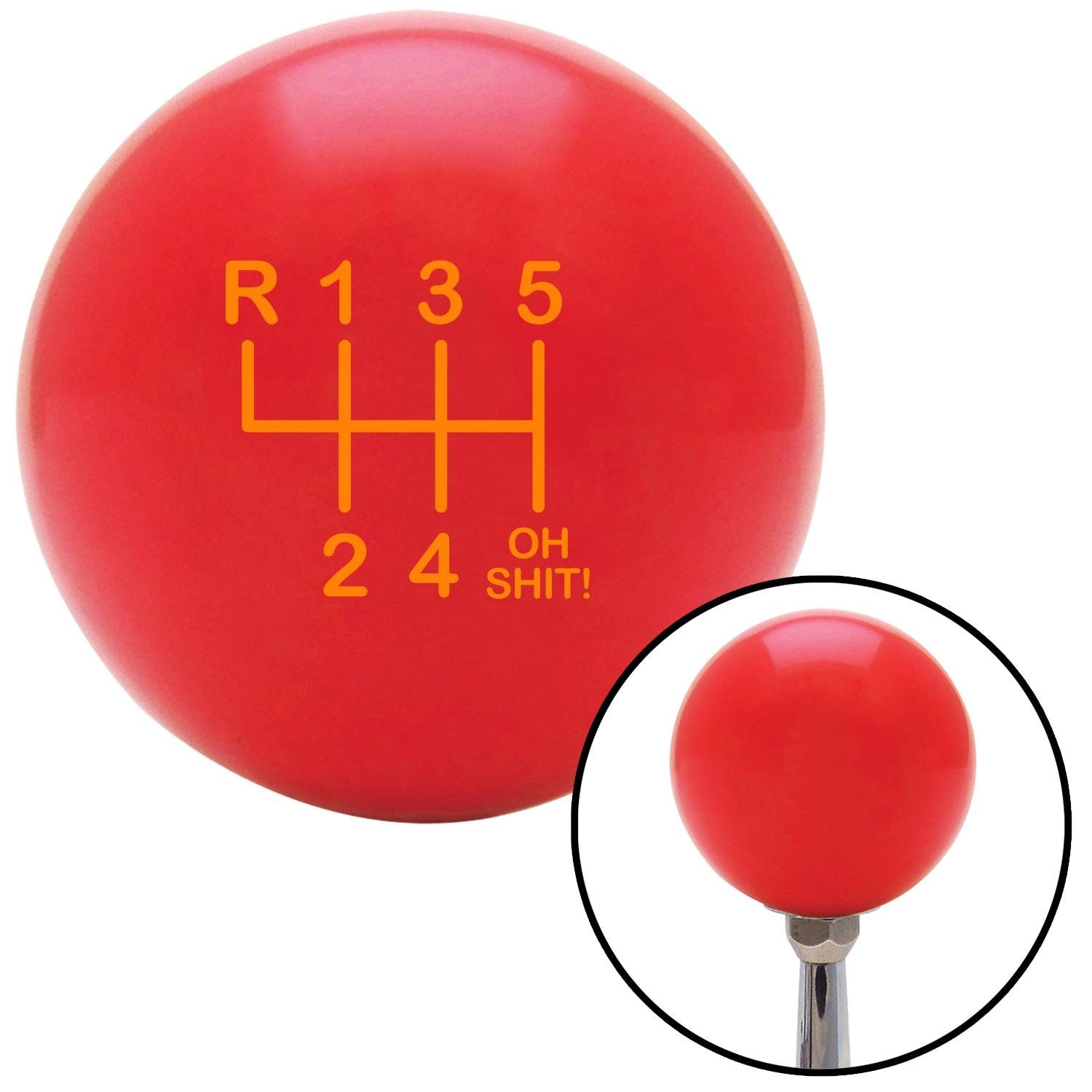 American Shifter 100613 Red Shift Knob with M16 x 1.5 Insert Orange Shift Pattern OS20n