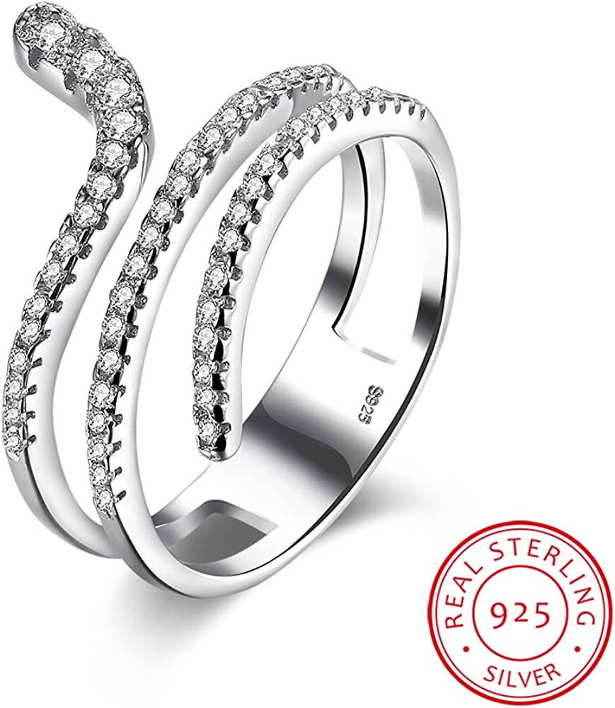 IVYRISE 925 Sterling Silver Simple Sparkle Pure Love Shiny Excellent Open Adjustable Ring