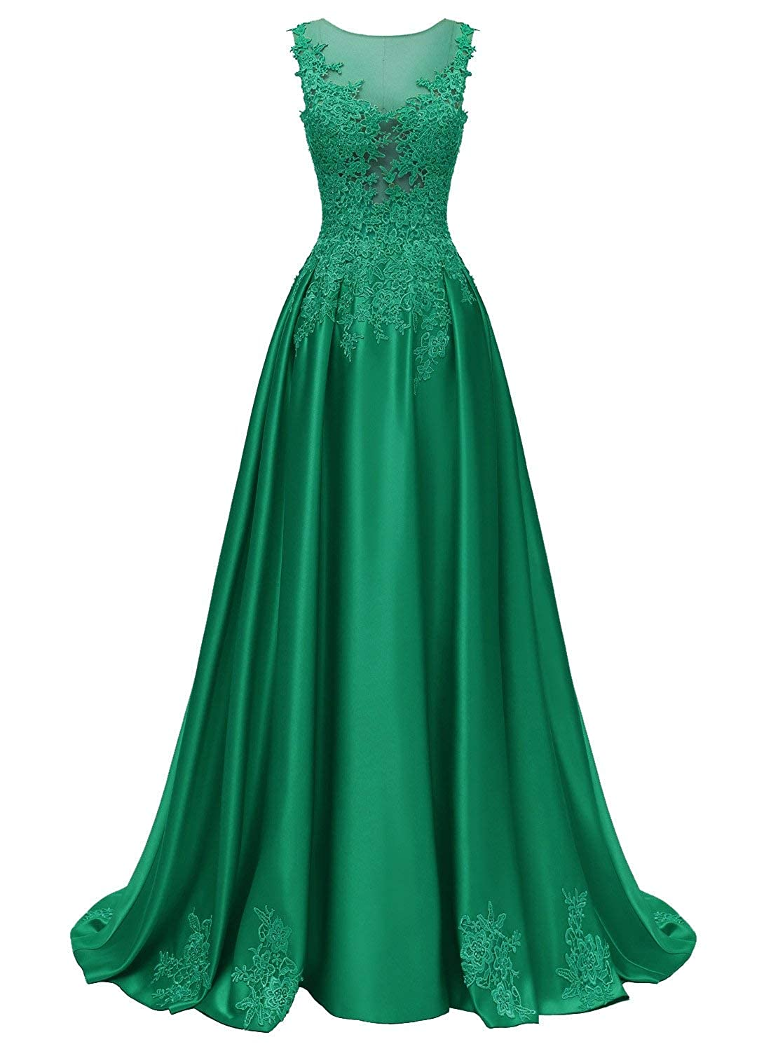 Emerald Green Dressytailor Aline Scoop Long Satin Appliques Beading Prom Dress Formal Evening Gown with Pockets