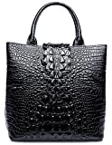 PIFUREN Designer Crocodile Embossed Leather Top Handle Satchel Handbags Office (Big Size, Big Size Black)