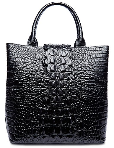 PIFUREN Designer Crocodile Embossed Leather Top Handle Satchel Handbags Office (Big Size, Big Size Black) by PIFUREN