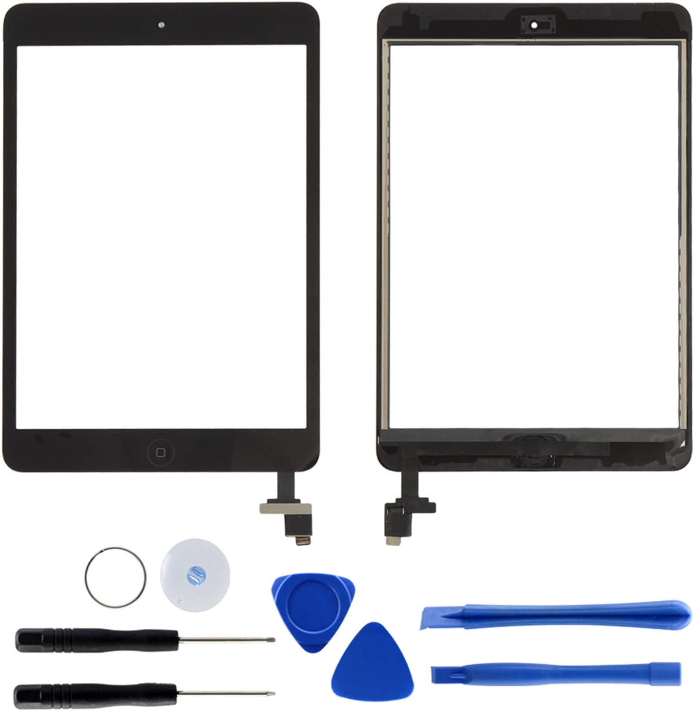 Digitizer Replacement for iPad Mini 1 2, Touch Screen Repair Assemble for A1432 A1454 A1455 A1489 A1490 A1491 with Home Button & IC Chip & Pre-Install Adhesive and Pry Toolkits