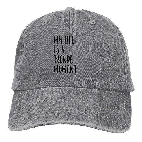 Blonde Baseball - CZGEN My Life Is A Blonde Moment Adjustable Washed Cap Cowboy Baseball Hat Ash