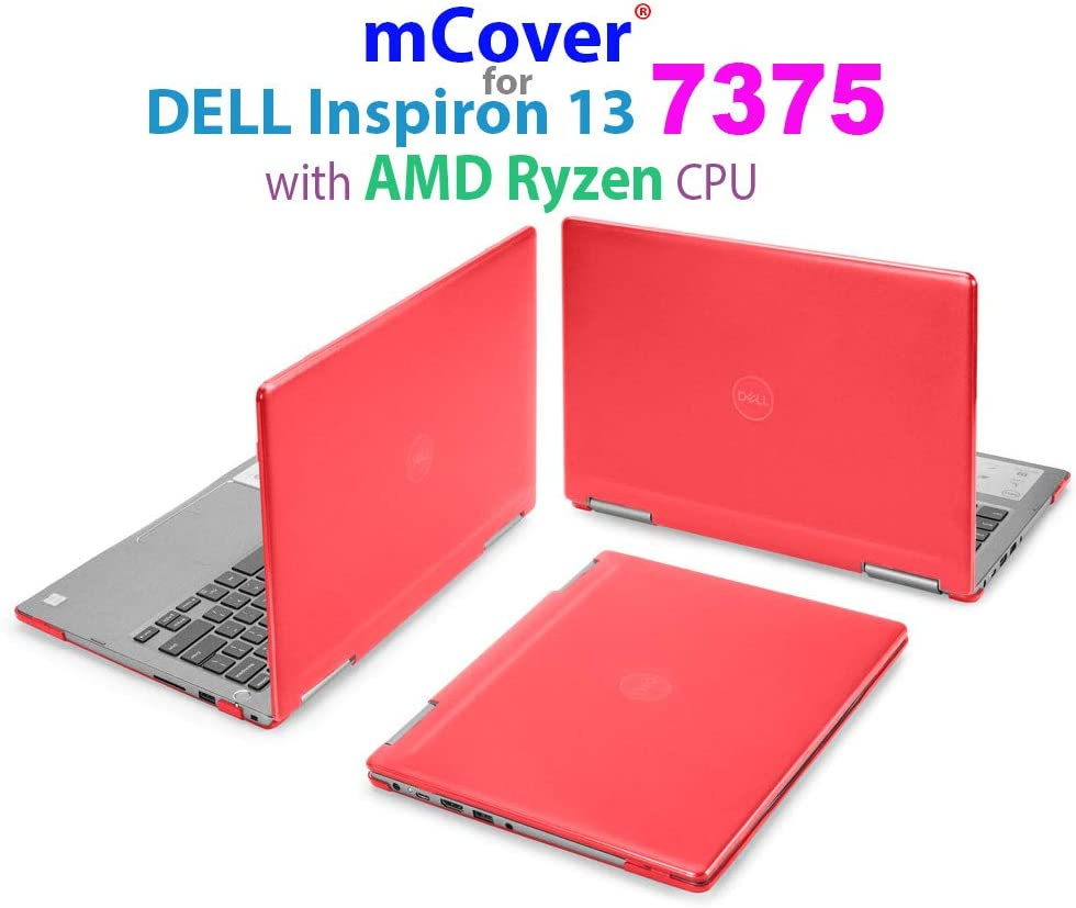 """mCover Hard Shell Case for 13.3"""" Dell Inspiron 13 7375 (with AMD Ryzen CPU) 2-in-1 Convertible Laptop Computers (Dell I13-7375-AMD Red)"""