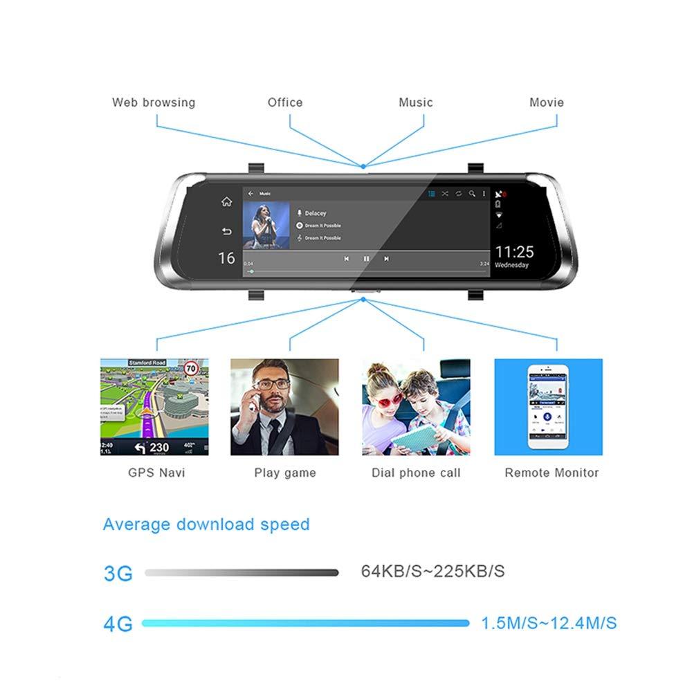 SODIAL Dash Cam De Voiture Group/é Universel IPS Pression 4G /écran Plein 10 Pouces R/étroviseur De Recul avec GPS Navi Bluetooth WiFi 5.1Android Double Lentille Fhd 1080