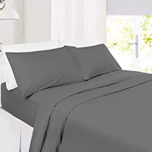 """Full Size Sheets – 4 Piece Full Gray Bed Sheet Set - Hotel Bed Sheets - Soft Microfiber Sheets - Easy Fit 8"""" to 14"""" Deep Pocket Fitted Sheets - 4 PC Sheets Full Sheets - Dark Charcoal Grey"""