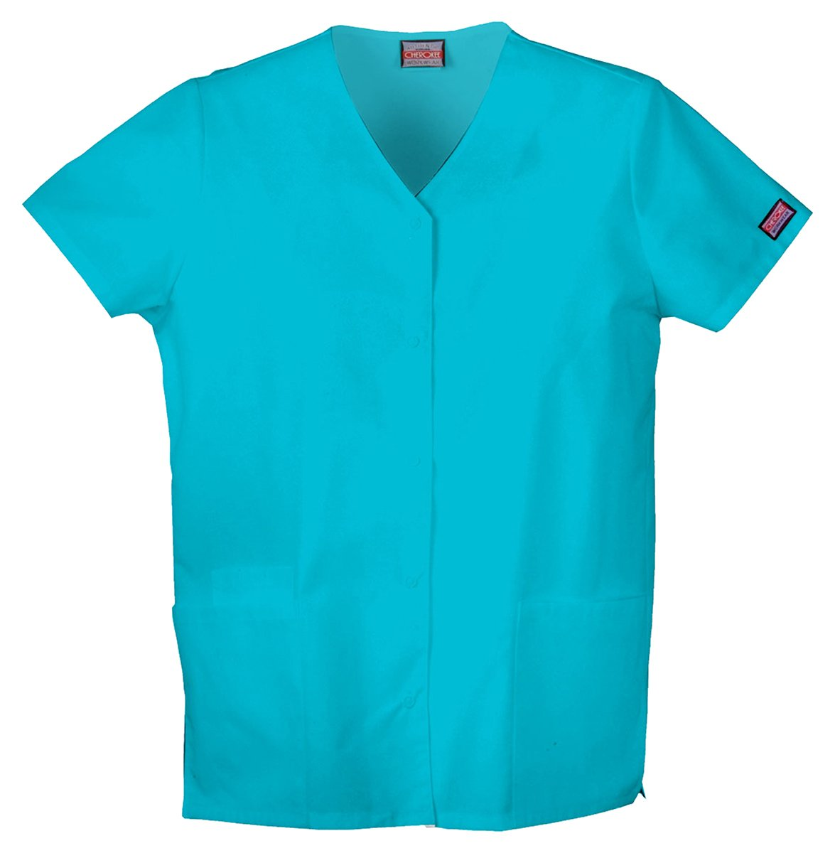 Cherokee Workwear Women's Snap Front V-Neck Shirt_Turquoise_XXXX-Large,4770