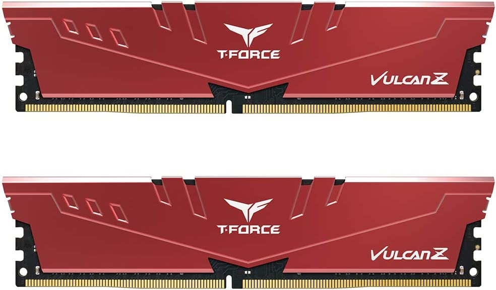 TEAMGROUP T-Force Vulcan Z DDR4 32GB Kit (2 x 16GB) 3200MHz (PC4 25600) CL16 Desktop Memory Module Ram - Red - TLZRD432G3200HC16CDC01