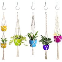 CORNMI 5 Packs Macrame Plant Hangers with 5 Hooks, Hanging Planters Holders Handmade Natural Cotton Rope Wall Plant…