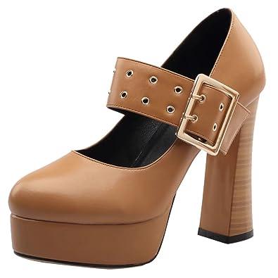 AIYOUMEI Damen High Heel Mary Janes Pumps mit Plateau und Schnalle Blockabsatz Party Schuhe
