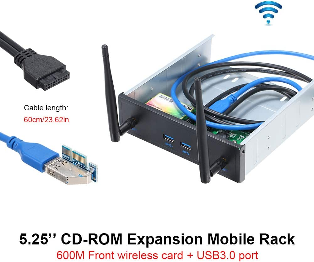 Docooler Wireless Network Card Pre-Drive CD-ROM Expansion Mobile Rack with 2 USB 3.0 Ports 600Mbps High Speed Support Dual Band