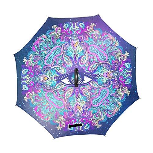 ALAZA U LIFE Sacred Eyes Halloween Mandala Vintage Reverse Inverted Umbrellas Reversible Sun Rain Umbrella for Car Outdoor Use With C-shaped Handle]()