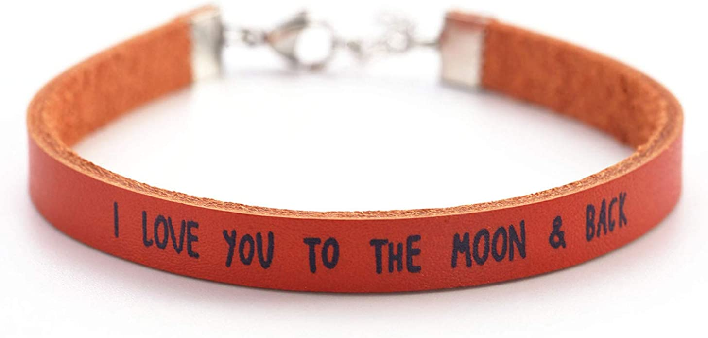 Amazon Com Boyfriend Girlfriend Gifts Leather Bracelet For Daughter Son Gift Dad Christmas Bracelets Birthday Cuff Jewelry I Love You To The Moon Back Clothing