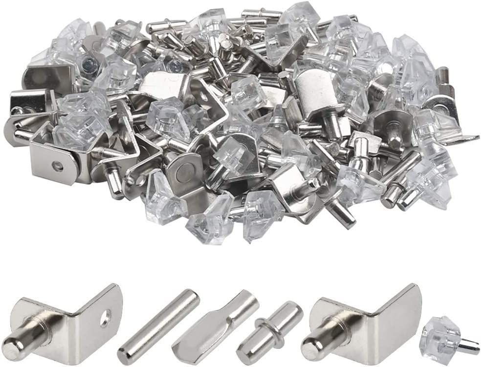 160Pcs Hardware Heavy Duty Shelf Pin Kit, 5 Styles Cabinet Support Pegs Holder Metal Nickel (5mm), Shelf Bracket Pegs Support for Shelf Holes on Cabinets, Bookshelf, Gardenshelf, Table & Chair Corner