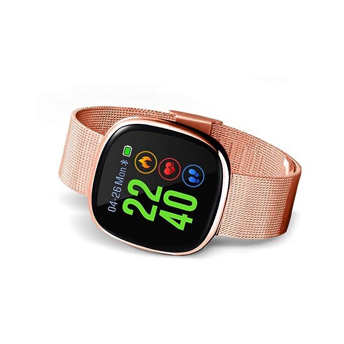 Hemobllo Reloj Inteligente Deportivo y Pulsera Bluetooth Actividad con Pulsómetro Dorado Podómetro y Ritmo Cardíaco Monitor de Calorías Sueño Impermeable ...