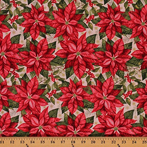 (Cotton Poinsettia Holiday Christmas Floral Metallic Snowflake Cotton Fabric Print by the Yard (CP1002-593))