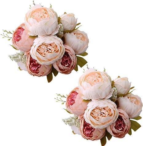 Amazon Com Fule 2 Pack Large Artificial Peony Silk Flower Bouquets Arrangement Wedding Centerpieces Light Pink Kitchen Dining