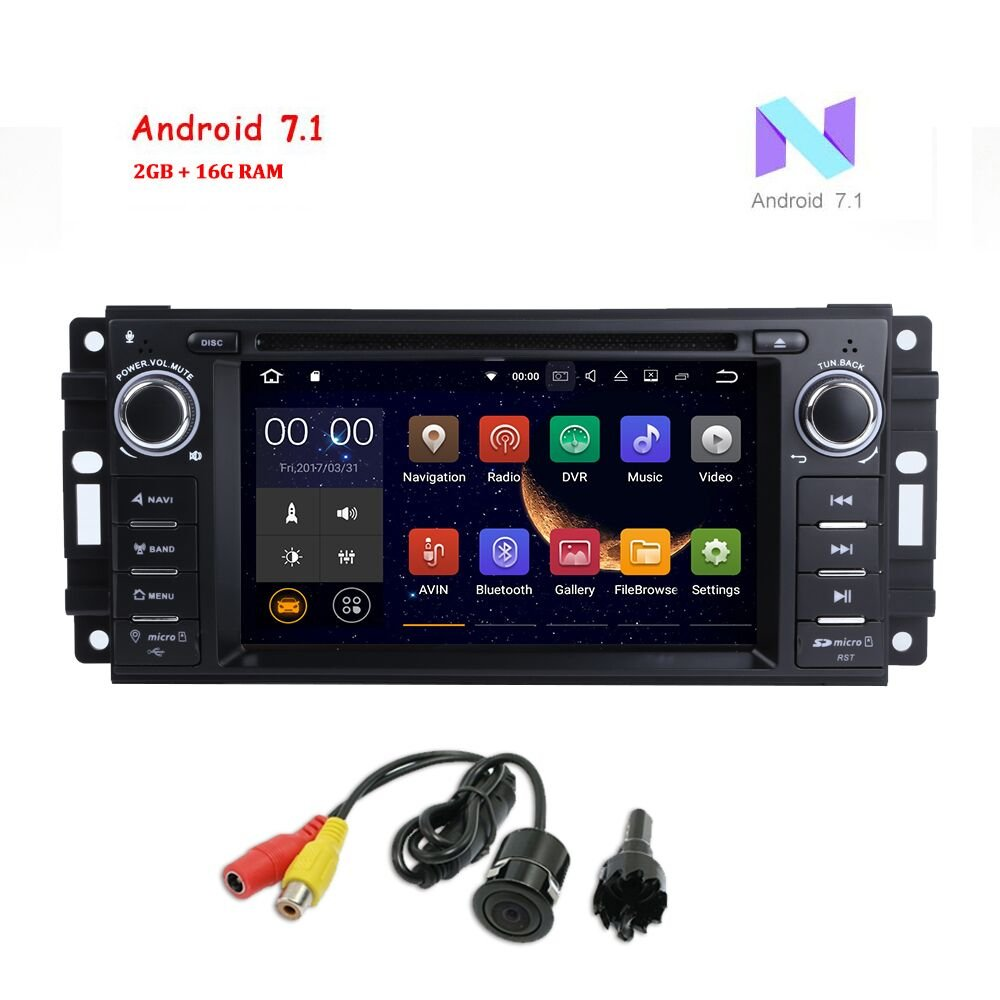 """Amazon.com: MCWAUTO Android 7.1 Car Stereo GPS DVD Player for Dodge Ram  Challenger Jeep Wrangler JK Head Unit Single Din 6.2"""" Touch Screen Indash  Radio ..."""
