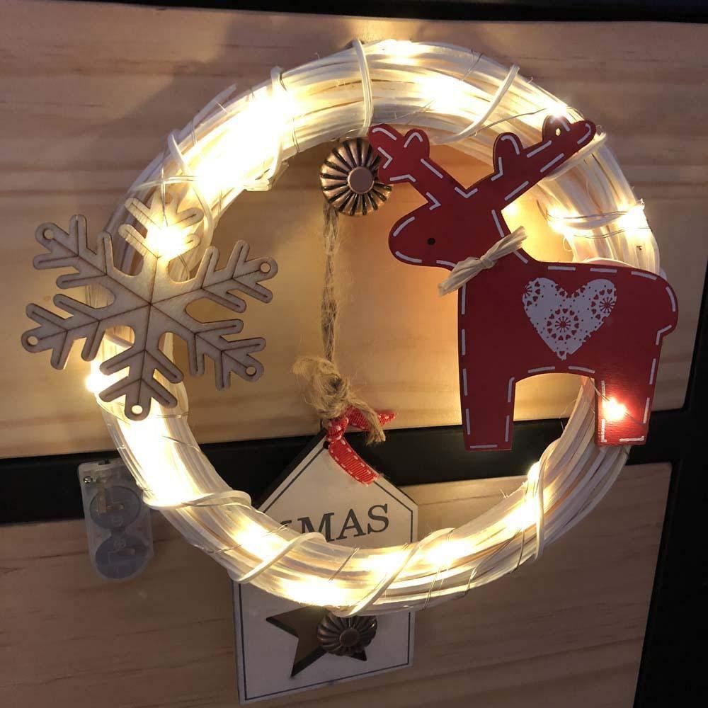 FLYWS LED Lichter Weihnachten Kranz Hand gemacht DIY weißen Rattan Machen Ring Rattan Streifen mit Beleuchtung Dekoration Ornamente