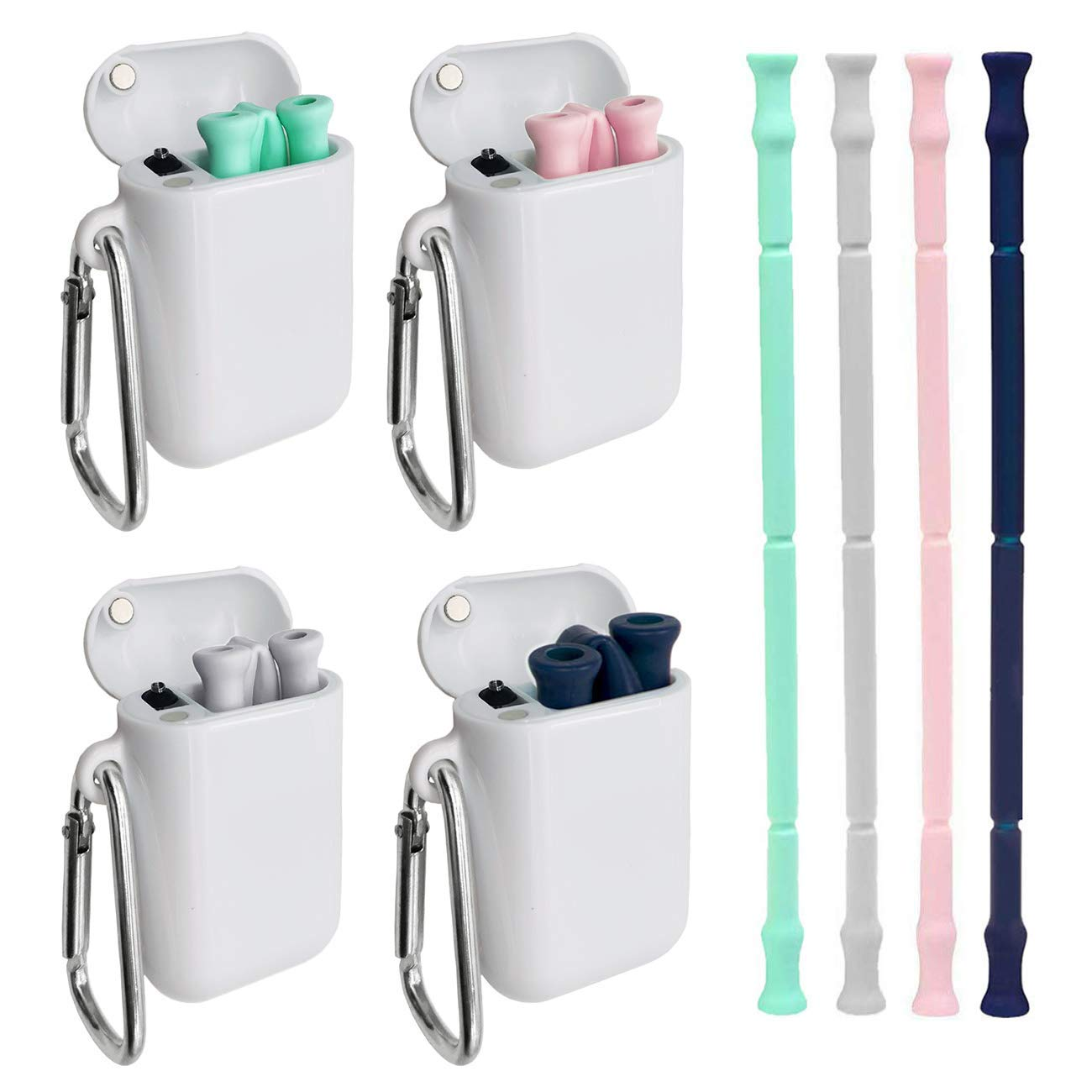 2 Pack Collapsible Straw Reusable Drinking Straws Stainless Steel Premium Food-grade Portable Straw Foldable Metal Straws with Case and Cleaning Brush & Keychain for Travel,Household,Outdoor