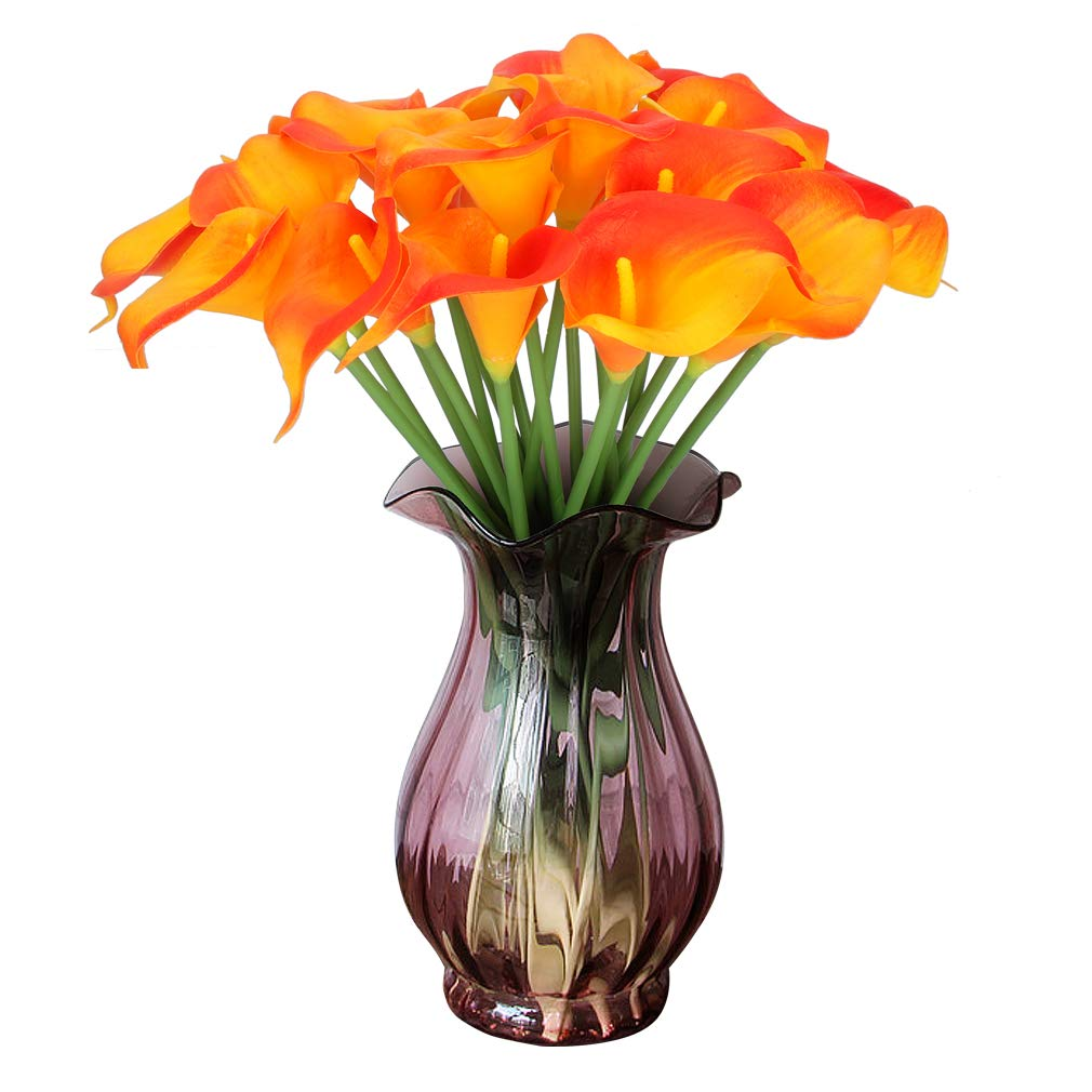 RERXN Artificial Calla Lily Real Touch PU Flowers Bouquet Latex Floral for Home Wedding Party Decoration. Pack of 20 (Orange)