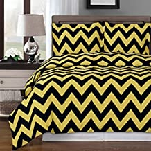 Full/Queen - Chevron- Gold with Black- 3pc Duvet cover set 100% Cotton 300 thread count fiber reactive prints duvet set By sheetsnthings ...