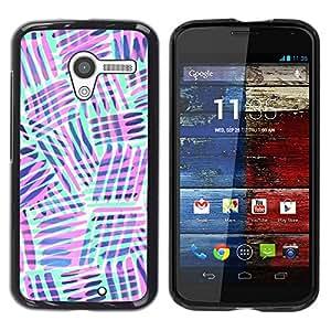 Menta Verde Violeta Líneas Modelo abstracto- Metal de aluminio y de plástico duro Caja del teléfono - Negro - Motorola Moto X 1 1st GEN I