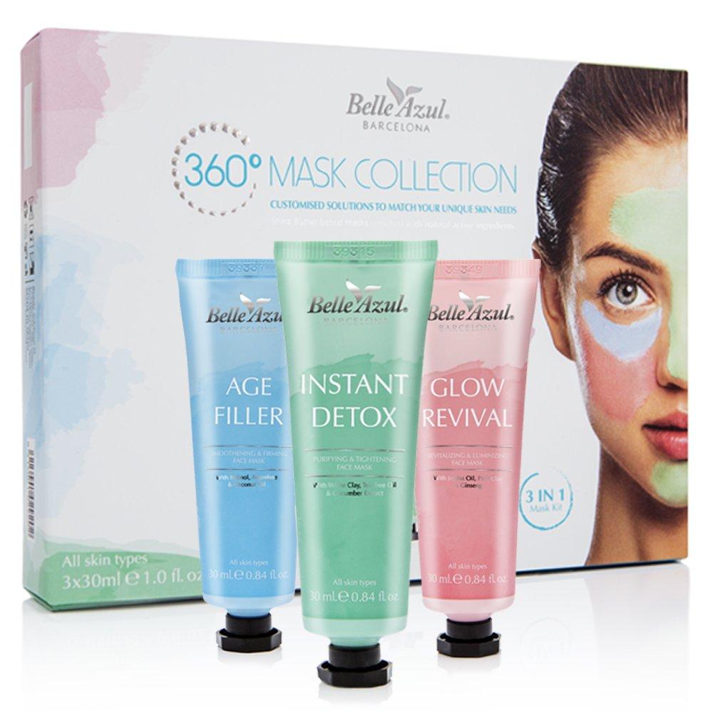 Belle Azul - Kit de mascarillas (3 x 30ML) - Pack Multi Masking - Para un aspecto facial saludable y radiante: Amazon.es: Belleza