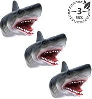 Tecesy Shark Hand Puppet Toys, Soft Rubber Shark Puppets Role Play Toy for Kids, Realistic Shark Head 7 inch (3 Pack)
