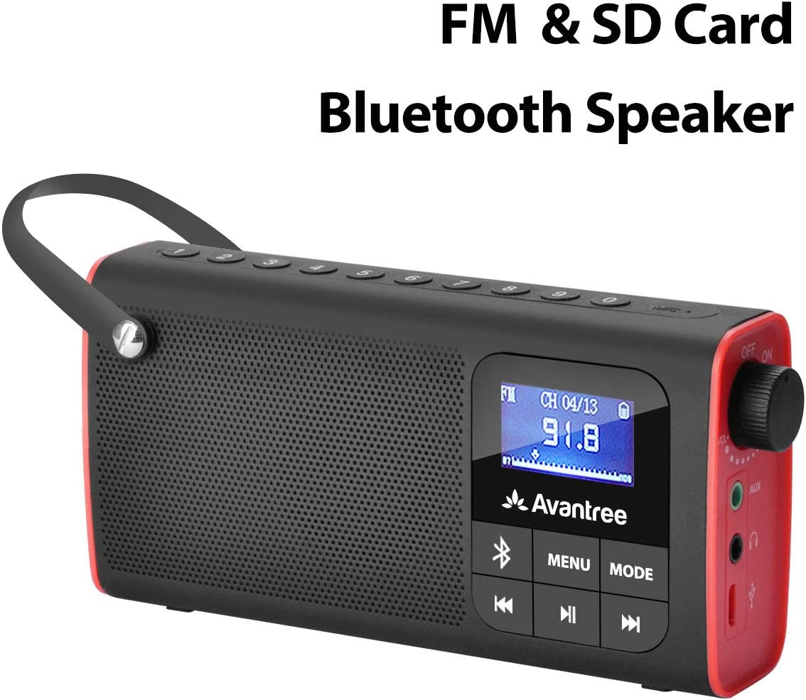 Avantree Portable FM Radio with Bluetooth Speaker and SD Card Player 3-In-1, MP3 Player with Headphones Socket, Auto Scan Save, LED Display, ...