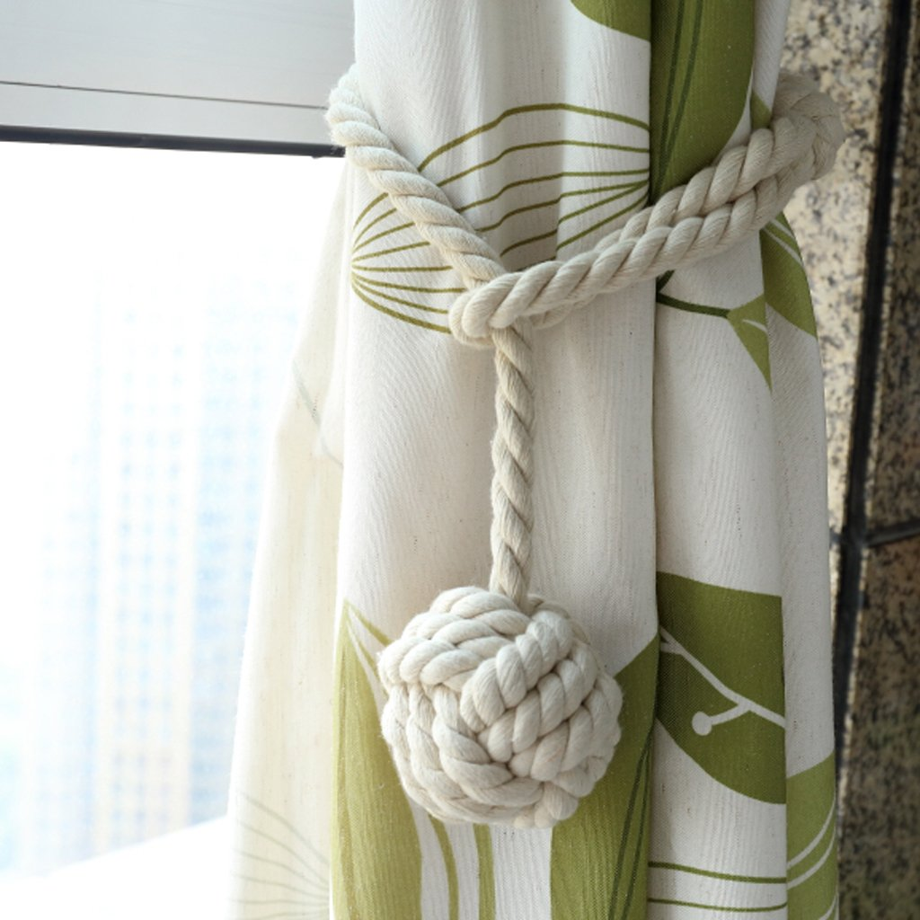 BTSKY 2 Pieces Curtain Rope Holdbacks- Decorative Hand-knitted Cotton Tiebacks (Beige')
