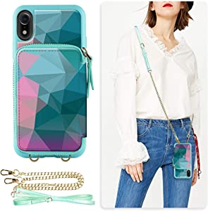 ZVE Wallet Case for Apple iPhone XR 6.1 inch, Leather Wallet Case with Crossbody Chain Credit Card Holder Slot Zipper Pocket Handbag Purse Wrist Strap Case Cover for Apple iPhone XR 6.1 - Diamond