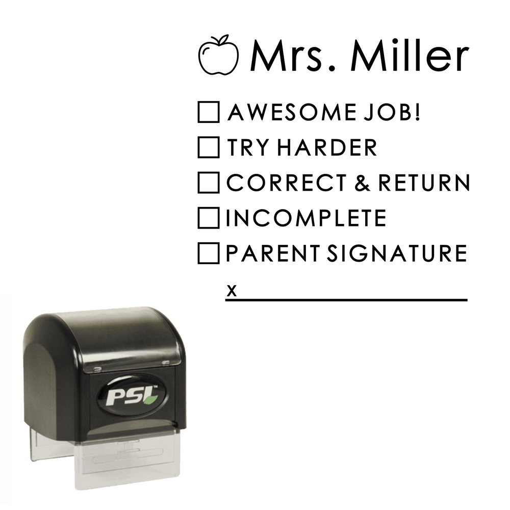 School Teacher Personalized Custom Stamp for Classwork, Homework, Incomplete Work, Parent Signature, Self Inking Stamper with Black Ink - by Pretty Sweet Party