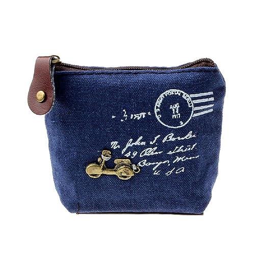 ZARU Tarjeta de la cartera chica retro del bolso de la moneda del monedero del bolso de regalo Torre Eiffel Caso