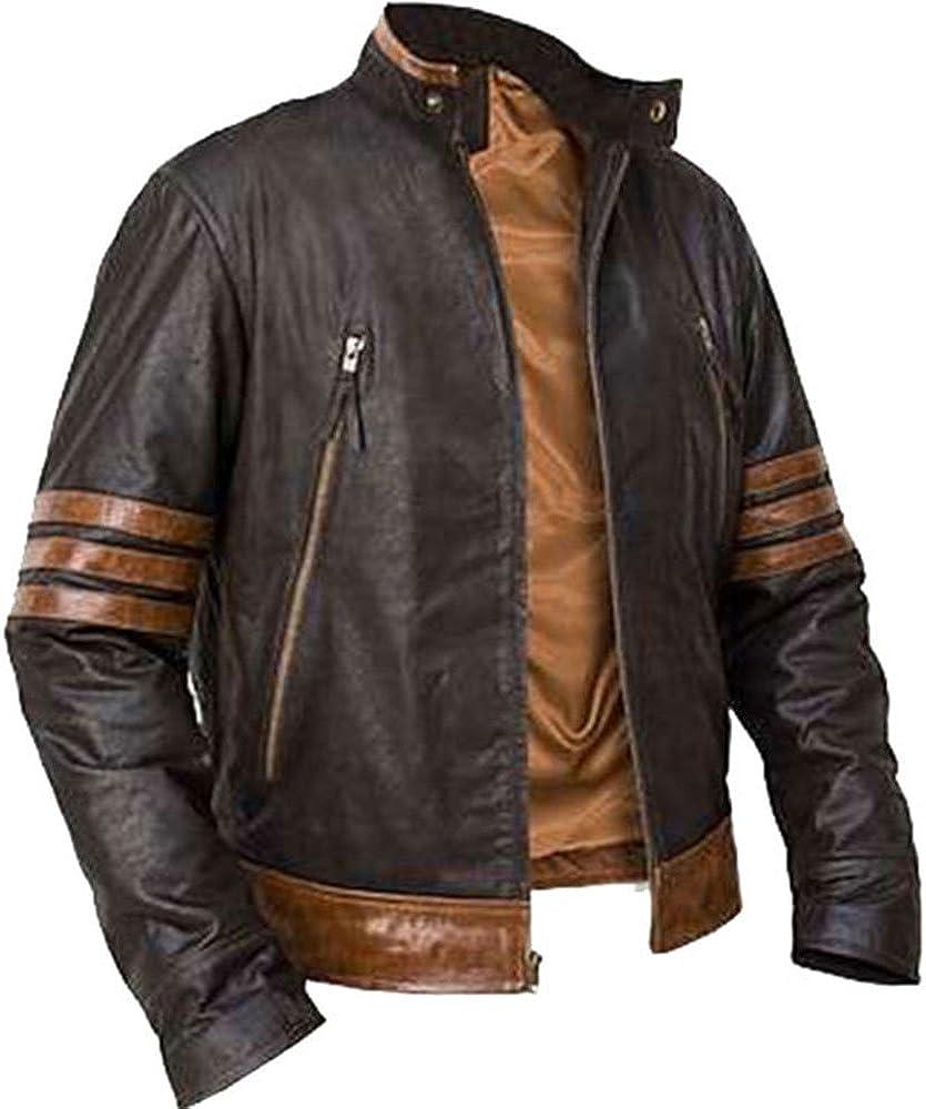 Slimleatherjackets X Men Wolverine Brown Leather Jacket At Amazon Men S Clothing Store