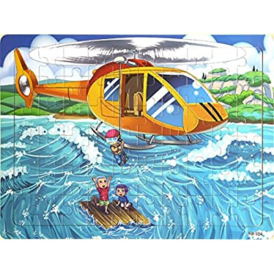 Layhome Puzzles 60 Pieces Durable Wooden Puzzle Children Fairy Story Animals Transportation Jigsaw (Helicopter) : Baby